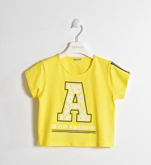 T-shirt short body con pizzo GIALLO