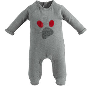 Warm touch stretch cotton onesie with foot GREY