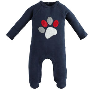 Warm touch stretch cotton onesie with foot BLUE
