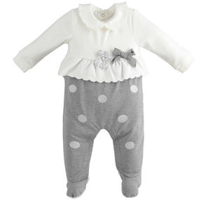 Milano stitched onesie with polka dot leggings GREY
