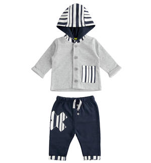 100% cotton baby tracksuit with hooded sweatshirt GREY