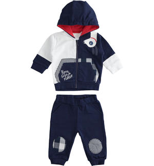 100% cotton baby tracksuit with full zip colour block sweatshirt BLUE