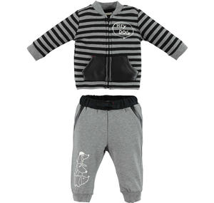 Fleece tracksuit with bomber jacket style sweater  GREY
