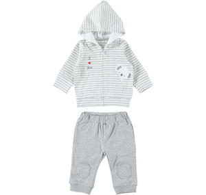 Two-piece suit in stretch cotton for babies GREY