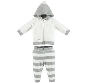Soft chenille unisex tracksuit with pompon CREAM
