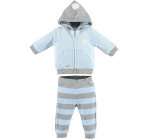 Soft chenille unisex tracksuit with pompon LIGHT BLUE