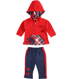 Stretch cotton jogging suit for baby girls with pouch pocket sweatshirt with checked details RED