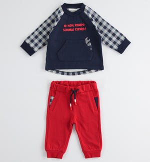 Baby boy cotton jogging suit with sweatshirt with kangaroo pocket RED