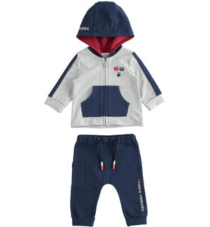 Newborn boy jogging suit with train embroidery