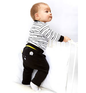 100% lightweight cotton baby tracksuit BLACK