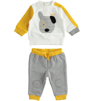 Jogging suit for newborn boy with dog GREY