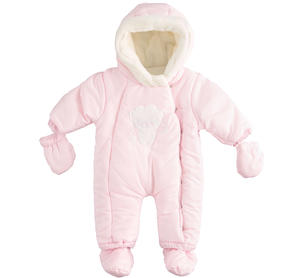 Newborn thermal onesie with detachable feet and gloves PINK