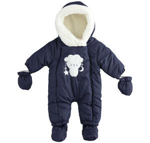 Newborn thermal onesie with detachable feet and gloves BLUE
