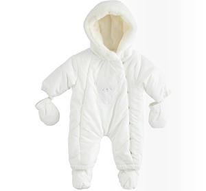 Newborn thermal onesie with detachable feet and gloves CREAM