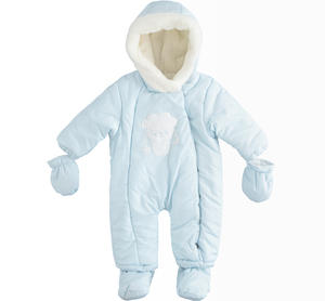 Newborn thermal onesie with detachable feet and gloves LIGHT BLUE