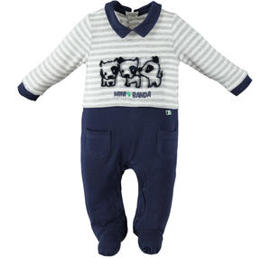 Baby boy romper 100% cotton with canines BLUE
