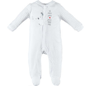 Baby boy romper with long sleeves and koala WHITE