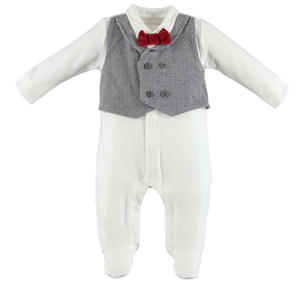 Romper with faux waistcoat and bow tie  GREY