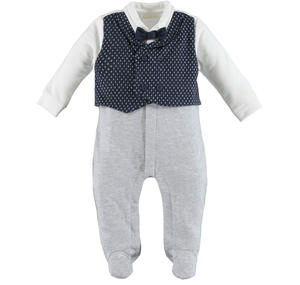 Romper with faux waistcoat and bow tie  BLUE