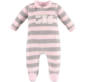 Unisex striped footed sleepsuit made of soft chenille with teddy bears  PINK
