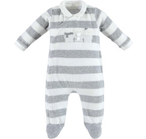 Unisex striped footed sleepsuit made of soft chenille with teddy bears  CREAM
