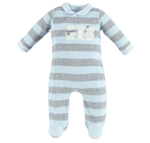 Unisex striped footed sleepsuit made of soft chenille with teddy bears  LIGHT BLUE