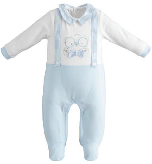 Cotton baby boy fake dungarees onesie with feet