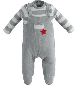 Very warm stretch cotton onesie with foot GREY