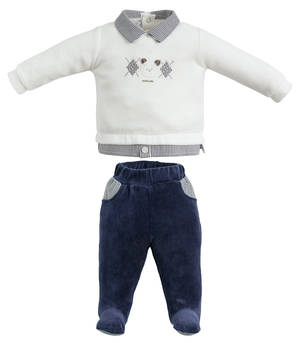 TWO PIECES ROMPER SUIT WITH FEET GREY