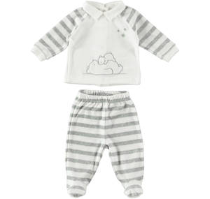 TWO PIECES ROMPER SUIT WITH FEET CREAM