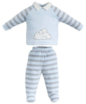 TWO PIECES ROMPER SUIT WITH FEET BLUE