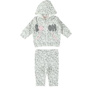 Two-piece romper in all-over fancy cotton for baby girl CREAM