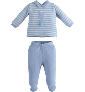 Two-piece newborn boy romper in stretch cotton with tricot effect