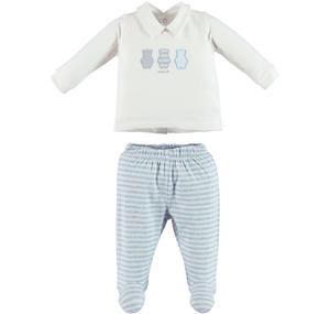 Romper 2 pcs set with bears for babies LIGHT BLUE