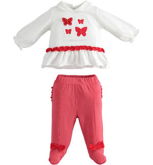 Stretch cotton jersey two pieces suit for newborn girl