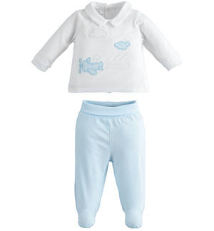 Soft stretch cotton two-piece baby suit LIGHT BLUE