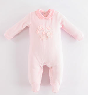 Chenille onesie with tulle heart PINK