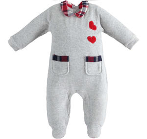 Chenille onesie with hearts and pockets GREY