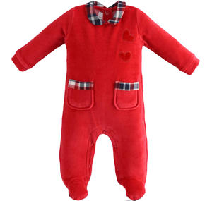 Chenille onesie with hearts and pockets RED