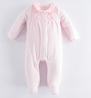 Chenille onesie with micro polka dot pattern PINK