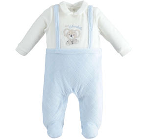 Chenille newborn baby suit fake dungarees model LIGHT BLUE