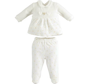 Chenille newborn baby girl suit broken model with contrasting hearts CREAM
