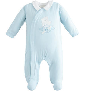 Stretch cotton newborn onesie with contrasting collar