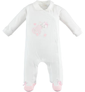 One-piece cotton fabric long-sleeved onesie with feet for baby girl WHITE