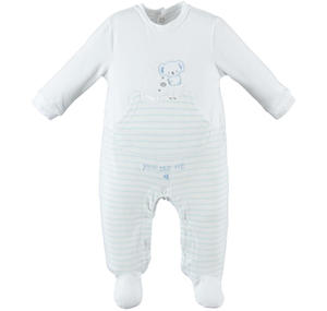 Full-length romper with long sleeves and cotton feet LIGHT BLUE