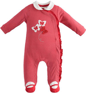 Baby girl long-sleeved onesie with all-over spiked stitch print
