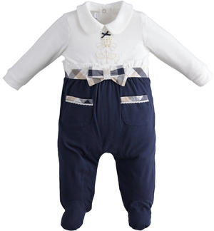 One-piece bicolour long-sleeved onesie with feet for baby girl
