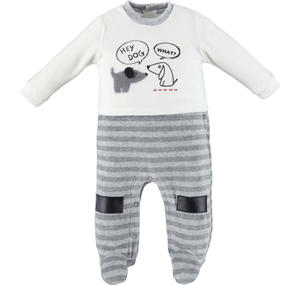 Sleepsuit with dogs and speech bubbles  GREY