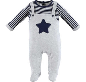 Fleece romper with faux dungarees  GREY