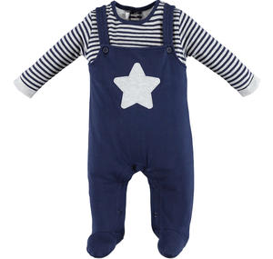Fleece romper with faux dungarees  BLUE